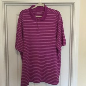 Nike Size XXL 2XL Dri Fit Golf Striped Polo Shirt